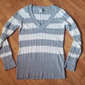 Gray and White Stripped V-Neck Sweater XL by So